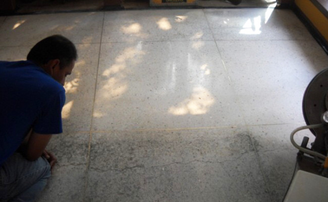 technician examines terrazzo damage