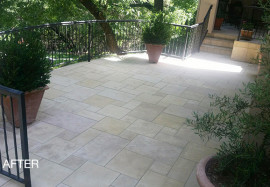 Like-New Limestone Patio